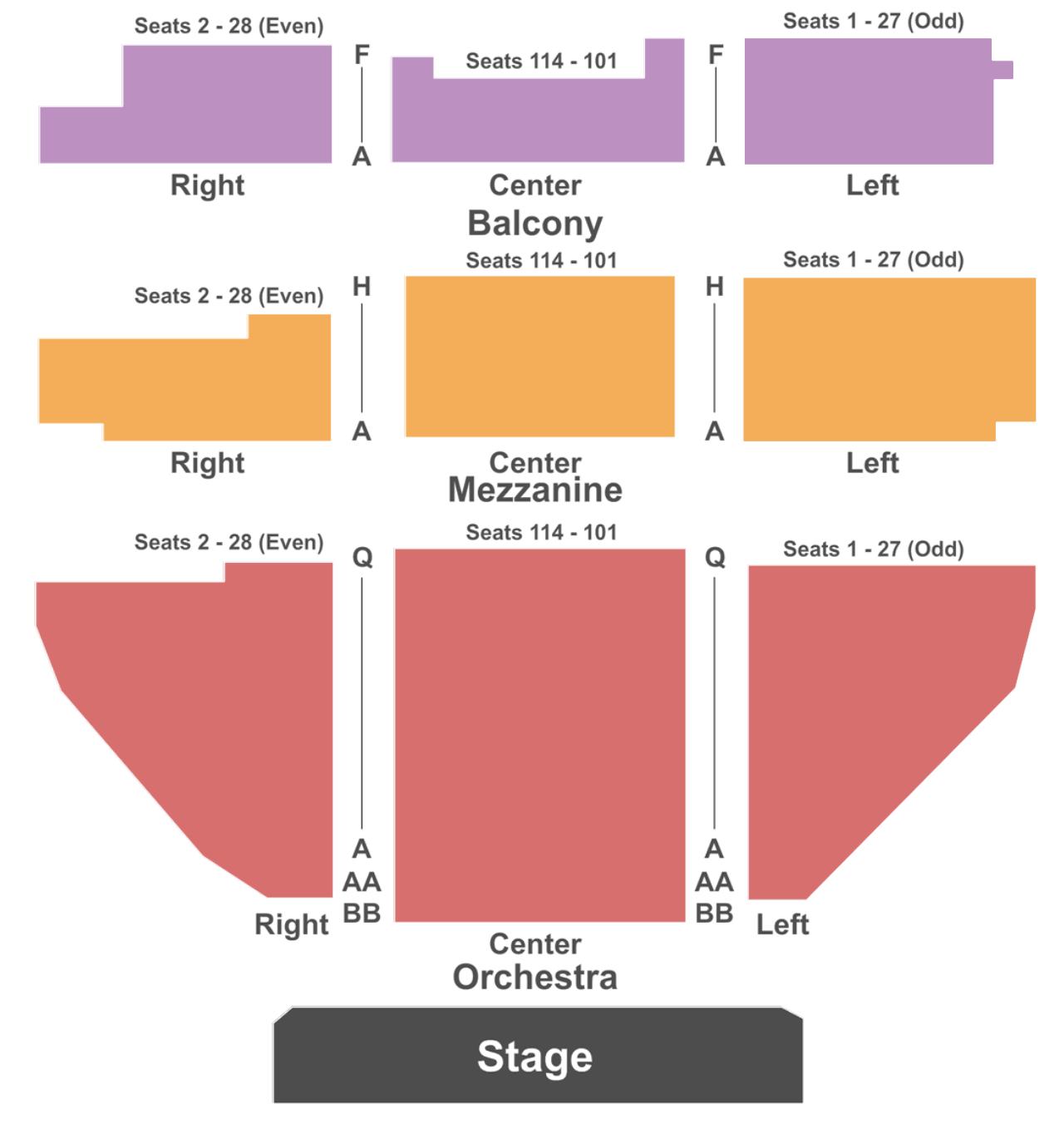belasco theater seating chart